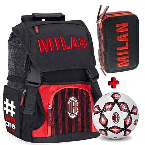 Schoolpack zaino estensibile a.c. milan con pallone + astuccio 3 zip completo di cancelleria - scuola 2018-209