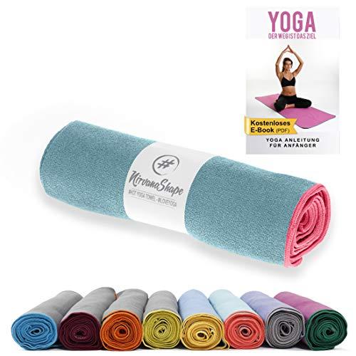 NirvanaShape® Yoga Handtuch rutschfest | Hot Yoga Towel mit Antirutsch-Noppen | hygienische Yogatuch-Auflage für Yogamatte [ 185 x 63 cm ]
