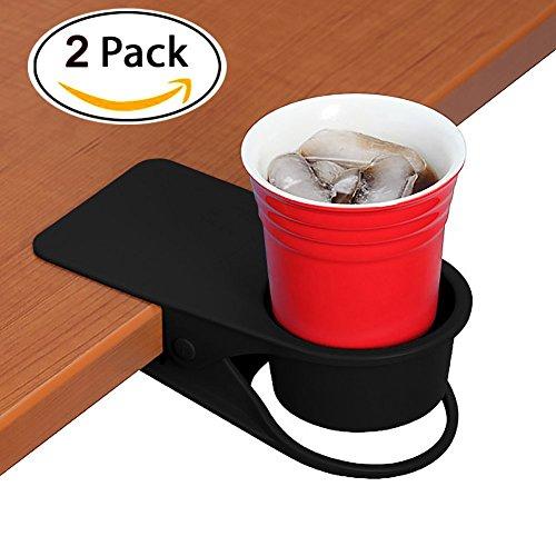 supercope Cup Holder Clip–Tisch Schreibtisch Seite Flasche Cup stehen den DIY Glas Aufbewahrung Untertasse Klammer Wasser Kaffee Becher Halter Untertasse Clip Design für Home & Office (schwarz und weiß) (Clip-wasser-flasche)