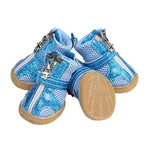 Kuncg La Pata Protege Botas De Perro Brillante De Protección Y Malla Transpirable Suave Al Aire Libre Casual Zapatos De Perro Azul 2