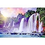 5D Diamond Painting DIY Suite Landscape Waterfall Series Un Círculo Completo Diamante Punto de Cruz Bordado Mosaico Decoración Del Hogar Regalo, 80X110cm