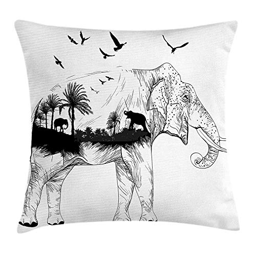 Pillow Cushion Cover, Hand Sketch Elephant Figure with Tropical Wildlife Jungle Theme Palm Trees Birds, Decorative Square Accent Pillow Case,Inches, Black White 20x20 inch ()