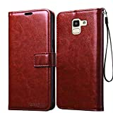 Bracevor Leather Case *Inner TPU, Wallet Stand, Flip Cover for Samsung Galaxy J6 - Executive Brown