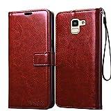 Bracevor Samsung Galaxy J6 Premium Leather Case *Inner TPU, Wallet Stand, Flip Cover - Executive Brown