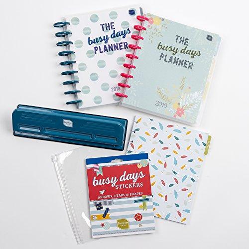 Boxclever Press Busy Days Ultimatives Starter Set. Enthält Busy Days Kreativplaner 2018 & 2019 mit Wochenansicht und Scheibenbindung, Busy Days Locher, Sticker, Zip-Lock-Tasche und extra Notizseiten