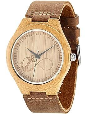Wonbee Herren Bambus Holz Handgelenk Uhren von wonbee mit genarbtem Leder Gurt und Anchor & Infinity Design, Braun...