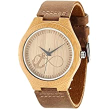 Los hombres de madera de bambú muñeca relojes por wonbee con correa de piel de vaca Natural y Anchor & Infinito Diseño, Marrón, se envía en una caja, Bono 2 pulseras de madera