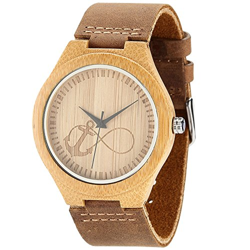 WONBEE Herren Bambus Holz Uhr Japanisches Analog Quarzwerk Uhren aus Holz mit Echtem Leder Armband - Anker Design wbba003