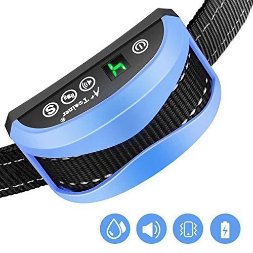 Collier Anti Aboiement Chien Automatique Électrique Rechargeable 7 Niveaux Ajustables Son Vibration Sensibilité sans Choc, Étanche IP65, Sangle Reflechissant Réglable en Nylon pour Chien 7-54kg