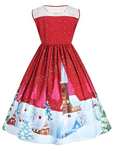 NEWISTAR Damen Weihnachten Ärmellos Swing Kleider Große Größen Rockabilly  Abendkleider Faltenrock Cocktailkleid Kleid Gr.44