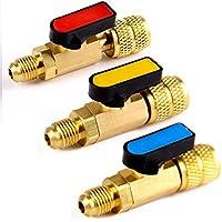 Ltong 3Pcs Lote Herramientas CalibradoresVálvulas Adaptador de refrigerante AC Mangueras de CargaVálvulas de Bola Recta delatón
