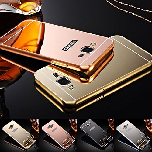 nKarta (TM) Branded Luxury Metal Bumper Acrylic PC Mirror Back Mobile Cover Case For Samsung Galaxy Grand 2 G7106 - Gold Plated