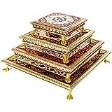udaipuri Wooden Handicrafts Meenakari Work Chowki (6inch, 8inch, 10inch, 12inch) - Set of 4