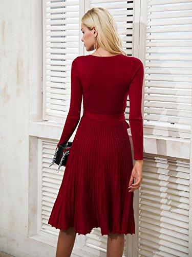 2718ab6ed9d Simplee Apparel Damen Kleid Retro Elegant Langarm V-Ausschnitt Plissee  Strickkleid Abendkleid Dress Rot