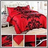 DOTBUY Bettbezug Set, 3 teilig bettwäsche 100% Polyester mikrofaser gemütlich Printing bettbezug-Set. (200 * 200cm, Rot)