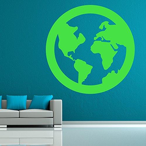 X-large Planeten Erde (Planet Erde Wandaufkleber Weltkarte Wandtattoo Schulkinder Wohnkultur verfügbar in 5 Größen und 25 Farben X-Groß Moos Grün)