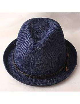 LVLIDAN Sombrero para el sol del verano Lady Anti-Sol Playa sombrero de paja estilo británico blue