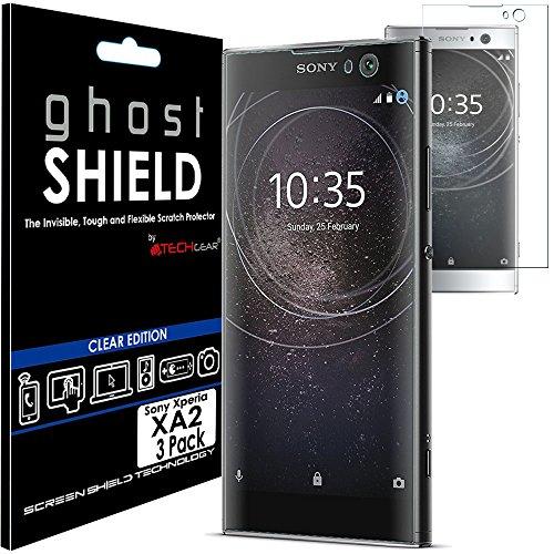 TECHGEAR [3 Stück Bildschirmschutz Kompatibel mit Sony Xperia XA2 - [ghostshield] Genuine verstärkte TPU Bildschirmschutzfolie Guard mit Gesamte Display Deckung inkl. Gebogener Bereich