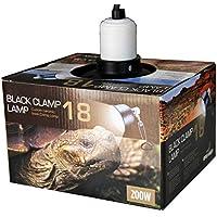 Reptiles Planet Soporte de lámpara con Reflector de Aluminio Black Clamp para Reptile/Amphibien 18D 18cm x H 22cm