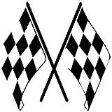 Karierte Flagge Checkered 12,7x 12,7cm lustig witzige Auto Van-Biker-Aufkleber-Free P & P