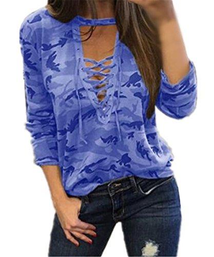 AILIENT Classico Maglia Camouflage Manica Lunga T-Shirt Donna Sexy Collo V Camicetta Moda Maglietta Casual Tops Blue1