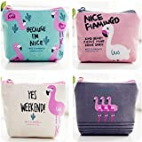 Cute Canvas Coin Purse Pouch Bag for Credit Card, ID Card, Keys, Headset, Lipstick,Pencil 4 Pieces (Color-01)