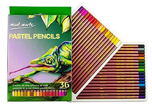 MONT MARTE Lapices Pastel - 36 piezas - Colores Pastel ideales con alta resistencia a la luz y pigmentos de primera calidad - Lápices Pastel Perfecto para Principiantes, Profesionales y Artistas