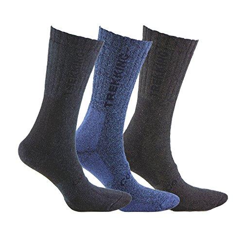 Calcetín COOLMAX de TREKKING (3 pares) para deportes de invierno o situaciones de frío y humedad. Ofrecen una perfecta temperatura y mantienen los pies frescos y secos (Negro/Azul/Marron 43-46)
