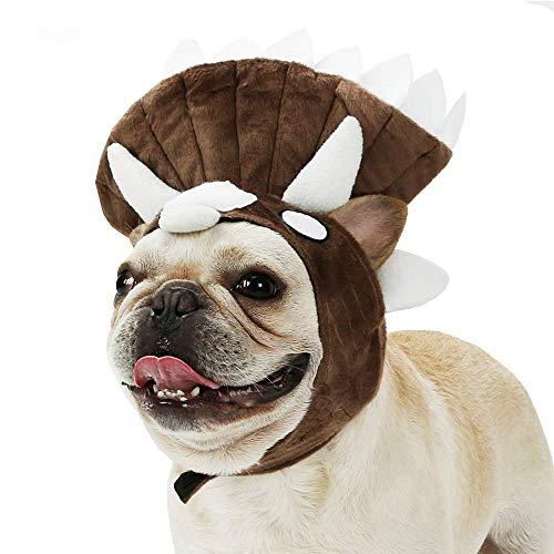 BABYS'q Hunde Kostüm, Triceratops Form Dog Hat Kopf Decken Französisch Bulldog Dinosaurier Form Kostüm Halloween Day Hat Turban