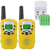 Sigdio Walkie Talkie für Kinder PMR446 Funkgeräte mit Akkus und Ladegerät Handfunkgeräte Walki Talki Taschenlampe VOX 8 Kanäle 0,5W (Gelb)