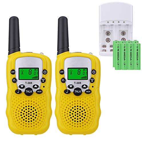 Sigdio T-388 Walkie Talkie Niños PMR 446 Walky Talky con Batería Recargable y Cargador Walki Talki Función VOX 8 Canales 0,5 W pantalla LCD Walkie Talkie Recargable Niños (Amarillo, 8 Batería)