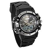 Lancardo Reloj Deportivo Impermeable de 5ATM Multifunción de Dual Tiempo Pulsera Digital de Moda con Retroiluminación para Deportes Exteriores para Chico Chica Unisex (Negro)