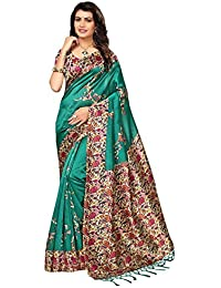 Ishin Art Silk / Blended Mysore Silk Green Printed Women's Saree/Sari With Tassels