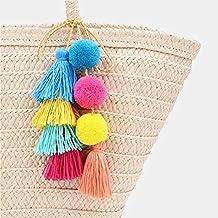 Llavero de Pompones de colores Wuudi, con borlas de pompón, colgante, bolso,