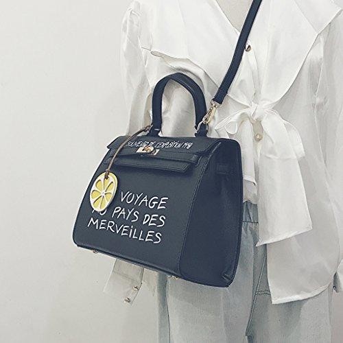 Sacchetto di spalla della borsa della borsa dell'unità di elaborazione stampata dalla lettera,Green Black