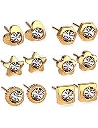luxusteel distintas formas Acero Inoxidable Circonita Cúbica Pendientes de tuerca sin níquel 6pares), color dorado y plateado