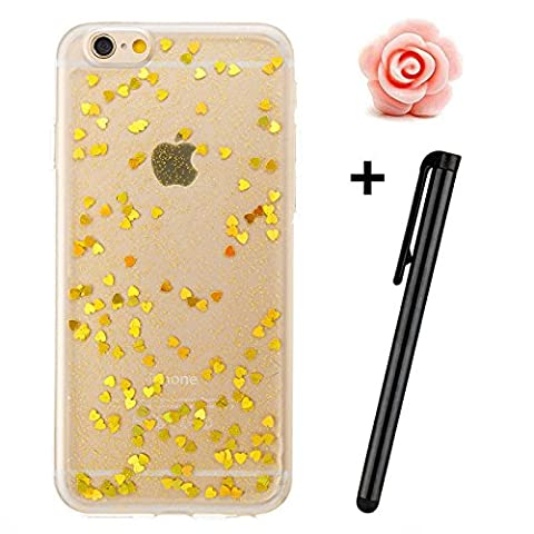 iPhone 6 Plus Case,iPhone 6S Plus Cover,TOYYM Ultra Slim Bling Glitter Flexible Soft TPU Rubber Gel Silicone Clear Case Cover,Shiny Love Heart Design Bumper Protective Case Cover for iPhone 6 Plus/6S Plus 5.5inch-Love