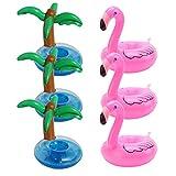 Aufblasbare Getränkehalter - 3 Stück Flamingo und 3 Stück Palme Island Cartoon Aufblasbares Flaschenhalter Badespielzeug Schwimmen Pool Untersetzer für Getränke Bier Fruchtsaf