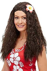 Smiffys 52031 - Peluca hawaiana para mujer, color marrón