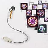 Pixnor–LED–Ventilador USB Flexible, ventilador con 64colores LED para PC de ordenador portátil (Plata)