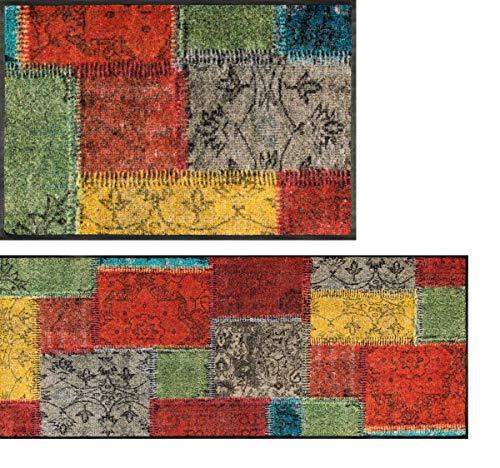 wash+dry Vintage Patches Fußmatte, Acryl, bunt, 40 x 60 x 0.7 cm
