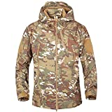 Men Military Jacket Softshell Waterproof Jacket for Mountaining, Camoflage S
