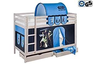 Lits superposés NELE Star Wars the Clone Wars - Lit surélevé ludique LILOKIDS - avec rideaux et sommier à lattes - contrôlé par TÜV & GS