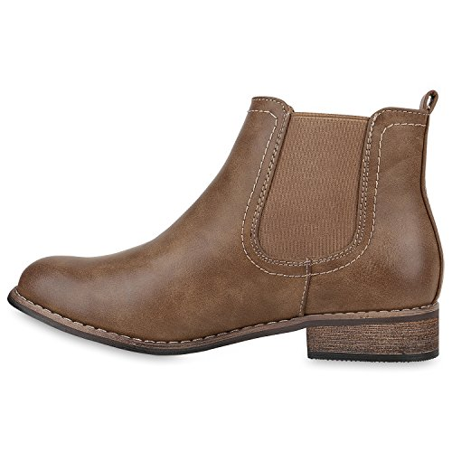 Stiefelparadies Gefütterte Chelsea Boots Damen Stiefeletten Leder-Optik Schuhe Profilsohle Booties Damenschuhe Übergrößen Flandell Khaki Agueda