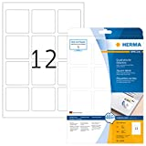 Herma 10109 Etiketten quadratisch, ablösbar (60 x 60 mm auf DIN A4 Papier matt) 300 Stück auf 25 Blatt, weiß, bedruckbar, selbstklebend, Movables