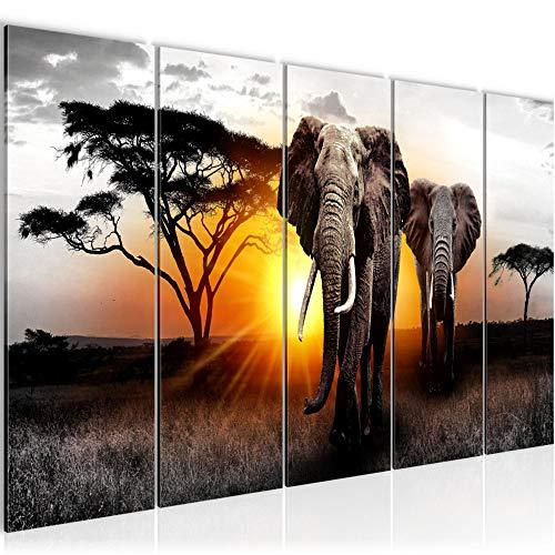 Bilder Afrika Elefant Wandbild 200 x 80 cm - 5 Teilig Vlies - Leinwand Bild XXL Format Wandbilder Wohnzimmer Wohnung Deko Kunstdrucke Gelb Grau - MADE IN GERMANY - Fertig zum Aufhängen 007655a -