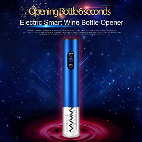 Brand Set Abrebotellas eléctrico para vino, Abrebotellas de acero inoxidable con cortador de aluminio, Sacacorchos automático y removedor de aluminio, Sacacorchos de botella de vino(Azul)