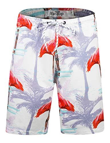 Herren Badeshorts Schnell Trocknend Badehose Fashion Beach Board Shorts mit elastischer Taille Flamingo EHS023-S -