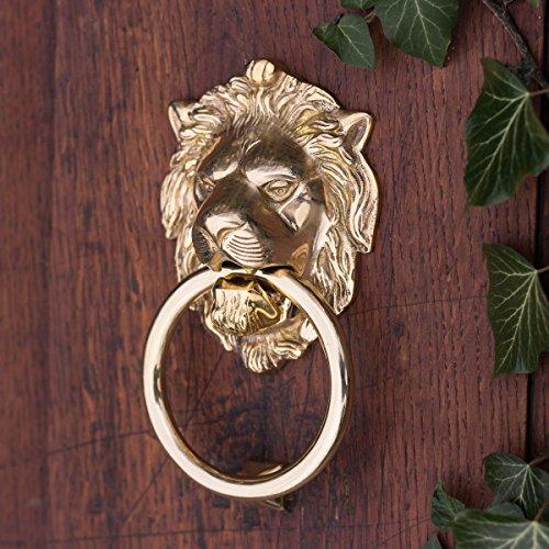 Antikas - Türklopfer als Löwe für Haustüren, Löwenkopf für Eingangstür, poliertes Messing