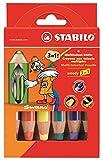 Stabilo Buntstift, Wasserfarbe und Wachsmalkreide woody (3 in 1, 6 verschiedene Farben) 6er Pack